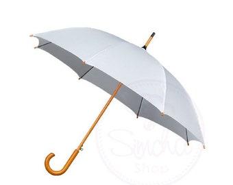 White Wedding Umbrella with Wooden Handle, White Umbrella, Wedding Umbrella, Wedding Parasol, White, Umbrella, Bridal Umbrella, Parasol