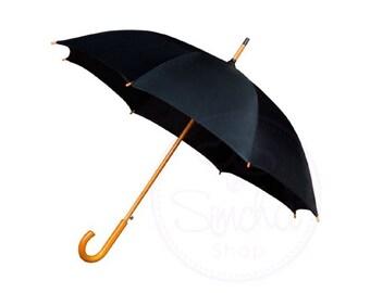 a286873ac922 Ombrello di nozze nero con manico in legno
