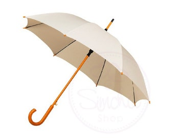 Ivory Wedding Umbrella with Wooden Handle, Ivory Umbrella, Wedding Umbrella, Wedding Parasol, Ivory, Umbrella, Bridal Umbrella, Parasol