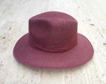 2751da38f17 Wine red fedora hat