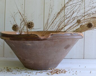Antique French Gresale tian Pottery confit pot  in rare brown ochre mustard color - Large size.