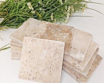 10 travertine tiles / coaster / soap bowl retro tiles 10 x 10 cm ANTIKLOOK