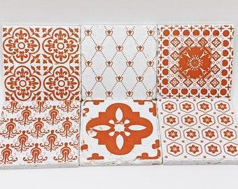 Charming set of 6 vintage tiles / coasters / retro tiles VILA