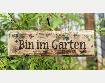 BIN IN GARDEN * Wooden sign garden sign balcony deco door deco entrance sign yard sign