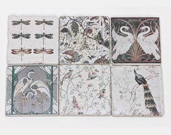 Set of 6 DESIGN Vintage Tiles / Coasters / Retro Tiles Art Nouveau PLUMES