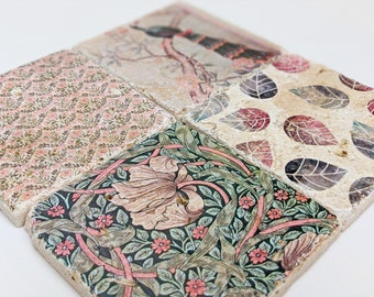 Charming set of 4 vintage tiles / coasters / retro tiles FLEUR