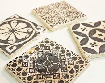 Beautiful set of 4 vintage tiles & Coaster Retro tiles 10 x 10 cm