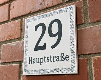 Vintage tile 20 x 20 cm large house number DEIN MOTIV