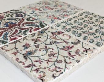 Charming set of 4 vintage tiles / coasters / retro tiles ETIENNE