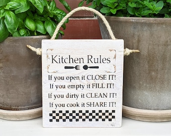 KITCHEN RULES * Kitchen Rules Large Wooden Sign Kitchen Sign Outdoor Kitchen