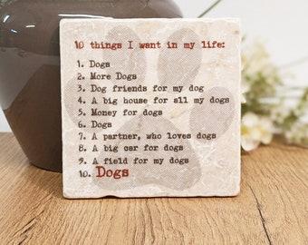 Slogan Tile DOGS Vintage Tile / Coaster / Retro Tile DOGS