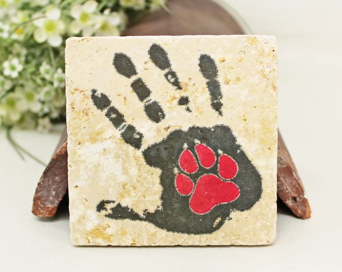 Featured listing image: Dog paw/cat paw vintage tile/coaster/decoration for cat and dog friends