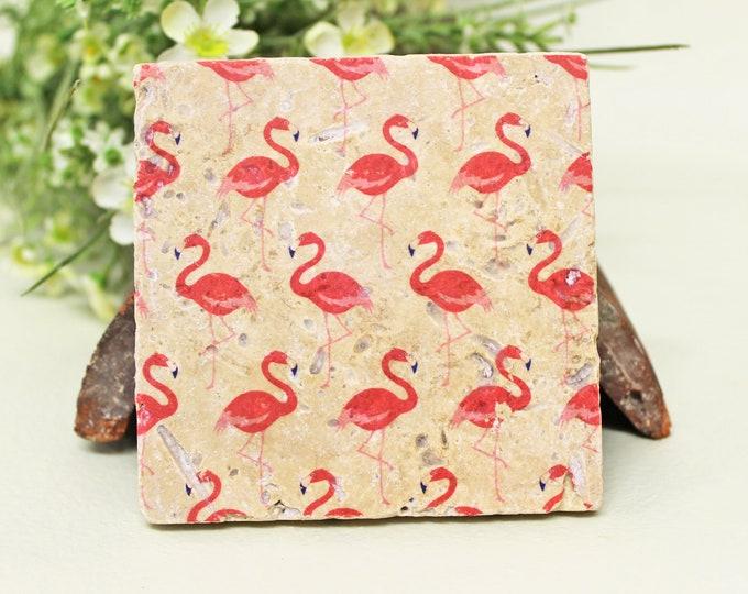 Featured listing image: Flamingos Vintage Travertine Tile/Coaster