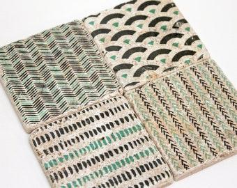 Charming set of 4 vintage tiles & coasters Retro tiles QUEPOS