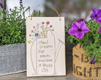 PLANT DREAMS * Wooden sign garden sign balcony decoration