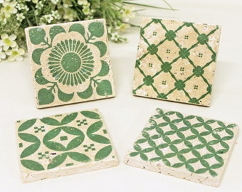 Beautiful set Vintage tiles & Coaster Retro tiles 10 x 10 cm