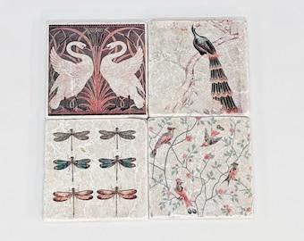 Charming set of 4 vintage tiles / coasters / retro tiles LAVELLE