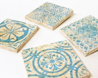 Charming set of 4 vintage tiles / coasters / retro tiles PORTO
