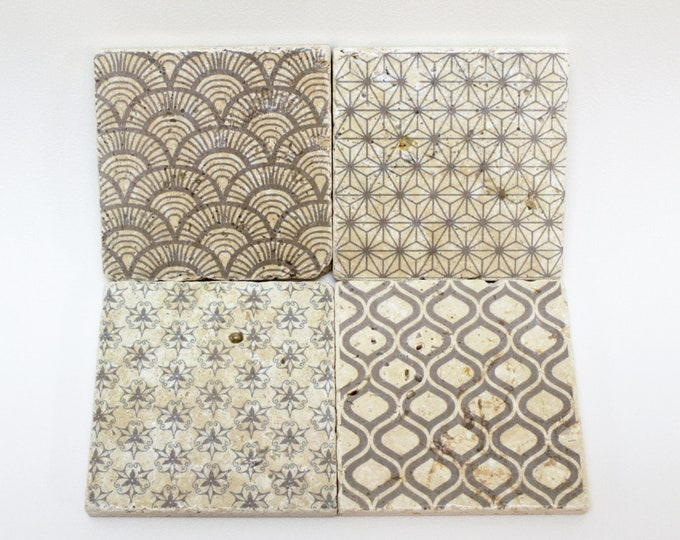 Featured listing image: Charming Set of 4 Vintage Tiles&Coasters Retro Tiles Wall Decoration NIZZA