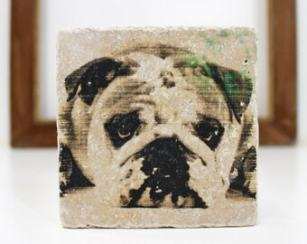 English Bulldog Vintage Travertine tile/Coaster Dog Love
