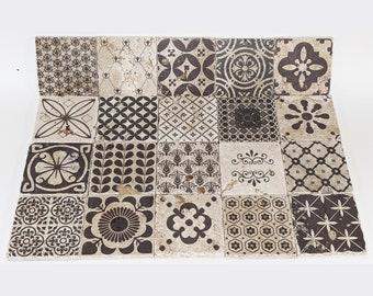 MEDINA set of 20 gorgeous vintage tiles / coasters / retro tiles