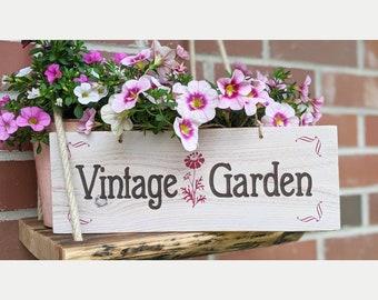 VINTAGE GARDEN * Wooden sign garden sign balcony deco natural garden