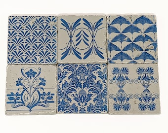 BASTO set of 6 vintage tiles / coasters / retro tiles