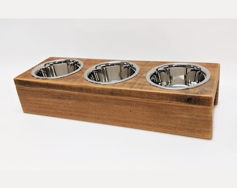 UNIKAT Unique feeding station with 3 bowls for smaller dogs / cats Industrial Look