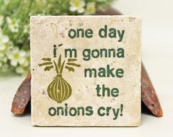Quote Vintage Travertine Tile/coaster Küchendeko onions