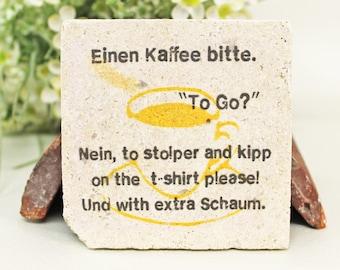 Quote Vintage Travertine Tile/Coaster Küchendeko Coffee please