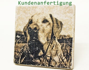 To remember, in remembrance of your beloved pet/your motif as a vintage travertine tile/memorial stone