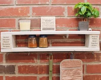 Vintage Spice Shelf Wooden Shelf KITCHEN REGAL Retro Design ANCHOR LOVE UNIQUE