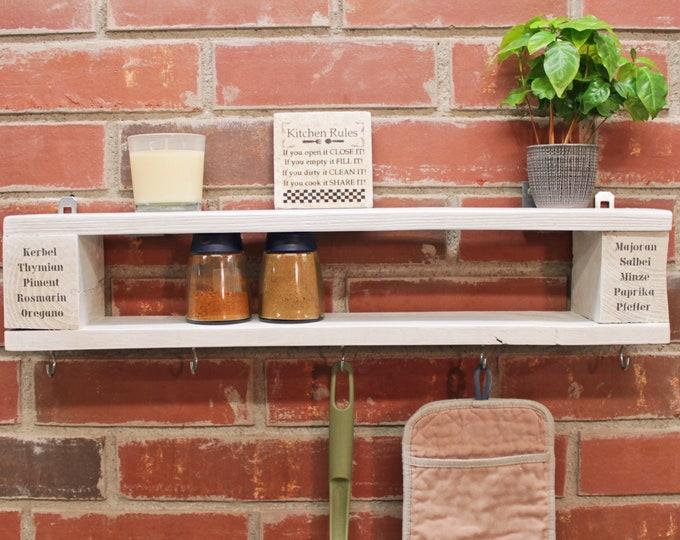 Featured listing image: Vintage Spice Shelf Wooden Shelf KITCHEN REGAL Retro Design ANCHOR LOVE UNIQUE