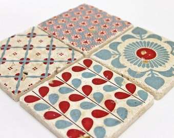 Charming set of 4 vintage tiles / coasters / retro tiles MALMÖ