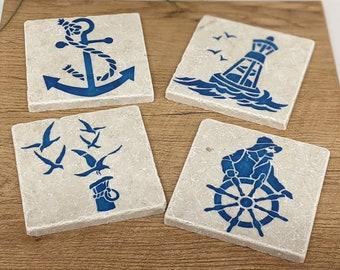 KÜSTENLIEBE 4er Set Vintage Tiles / Coasters / Retro Tiles Hanseatic City