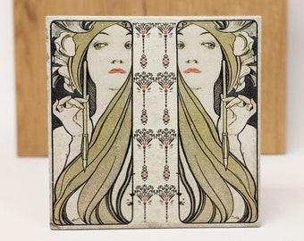 LA FEMME Large Vintage Tile/Retro Tile/ Coaster15 x 15 cm