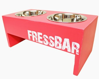 FressBar for smaller four-legged friends and cats Food bar bowling station individualized by name