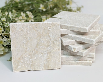 10 or 5 Blank Vintage Tiles & Coasters / Natural Stone Tiles 10 x 10 cm