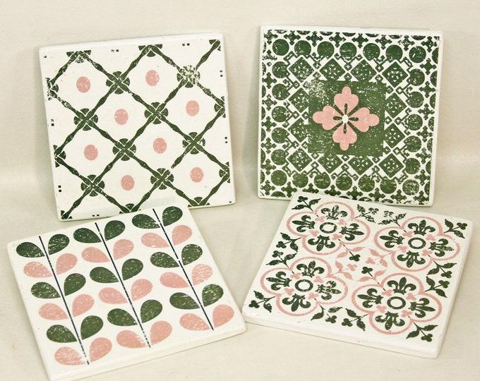 Featured listing image: LULEA 4-set concrete tiles/vintage tile/coaster retro tile 15 x 15 cm
