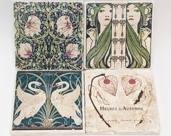 Charming set of 4 vintage tiles / coasters / retro tiles ART DECO