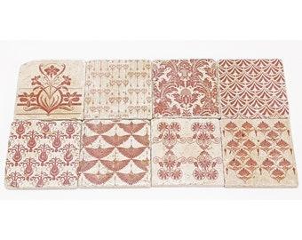 Enchanting Set of 8 Vintage Tiles / Coasters / Retro Tiles FES
