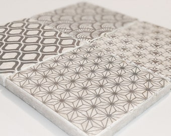 Charming set of 4 vintage tiles &coasters retro tiles wall decoration NIZZA