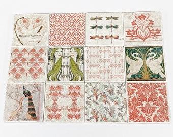 SAINT-ANTOINE set of 12 vintage tiles / coasters / retro tiles