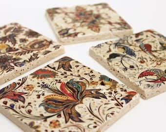 Charming set of 4 vintage tiles / coasters / retro tiles LYON