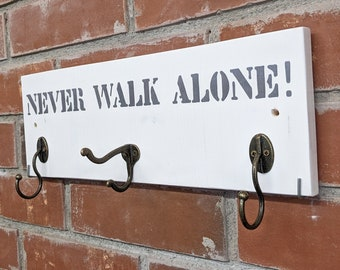 NEVER WALK ALONE! Linen wardrobe in wood/ 3 double hooks for dog accessories