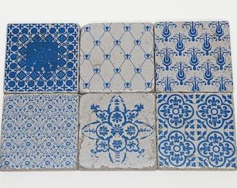 Charming set of 6 vintage tiles / coasters / retro tiles LAGOS