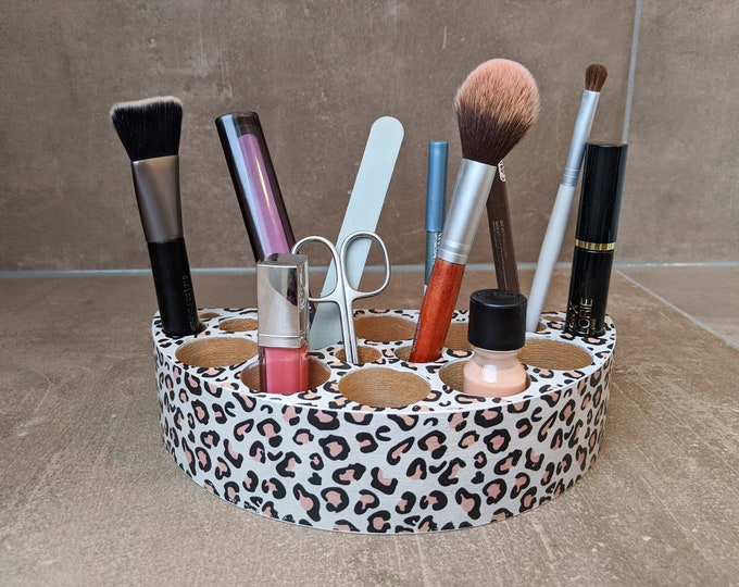Featured listing image: Cute Organizer Box for Make Up - Cosmetics - Office in LEO Print / Animal Print