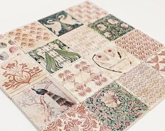 Set of 16 or 32 beautiful vintage tiles / coasters / retro tiles