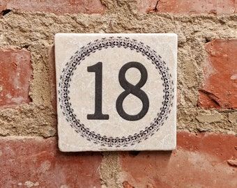 Vintage tile with house number / name or custom lettering