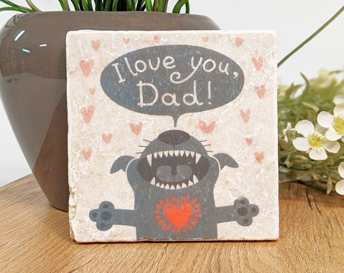 Featured listing image: LOVE YOU DAD Vintage Tile / Coasters / Gift for Dog Papas